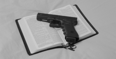 A King James Bible and a Glock 17